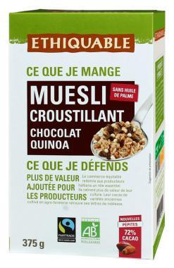 Muesli crujiente de quinoa y chocolate Ethiquable