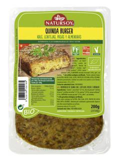 Hamburguesa de quinoa, kale, lentejas, pasas y almendras Natursoy 200g.