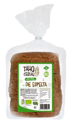 Pan de molde integral de espelta bio Taho Cereal 400g.