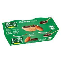 Postre vegetal almendra cacao Naturgreen 2x125g.
