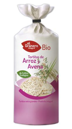 Tortitas de arroz y avena bio El Granero Integral 115g.