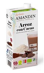 Bebida de arroz con cacao Amandin 1l.