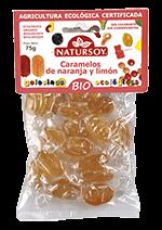 Caramelos de naranja y limón bio Natursoy 75g.