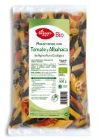 Macarrones con tomate y albahaca bio 500g.