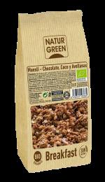 Muesli chocolate coco y avellanas Sin Gluten NaturGreen 350g.