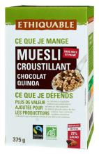 Muesli crujiente de quinoa y chocolate Ethiquable 375g.