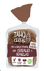 Pan de molde integral de cereales y semillas bio Taho Cereal 400g.