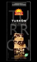 Turrón de chocolate y almendras bio 200g.