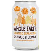 Refresco de naranja y limón bio Whole Earth 330ml.