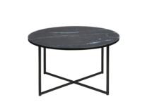 Cristal con diseño mármol negro y patas en metal negro
