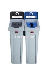 Kit de estación de reciclaje Slim Jim de 2 contenedores con tapa abierta y de papel