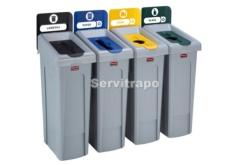 Kit de estación de reciclaje Slim Jim de 4 contenedores con tapas de reciclaje abiertas cerradas y mixtas