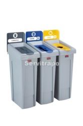 Kit de estación de reciclaje Slim Jim de 3 contenedores con tapas de reciclaje abiertas, cerradas y mixtas