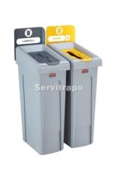 Kit de estación de reciclaje Slim Jim de 2 contenedores con tapa gris y de papel azul