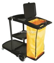 Carro de limpieza Arc con bolsa amarilla y tapa
