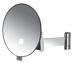 Espejo ECLIPS redondo c/luz brazo latón cromado plano
