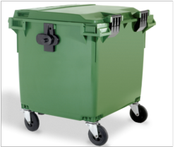 Gran contenedor de basuras de 1100 litros tapa plana