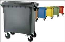 Gran contenedor de basuras de 770 litros tapa plana