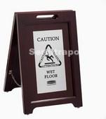 Señal Seguridad Multilingüe Executive (marco madera, 2 caras) Acero Inox.