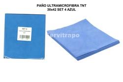PAÑO ULTRAMICROFIBRA TNT 38x42 SET 4 AZUL (ESPECIAL CRISTAL)