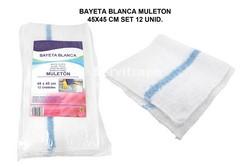 BAYETA BLANCA MULETON 45X45CM SET 12UNID.