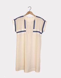 Cotton dress with embroidered edging