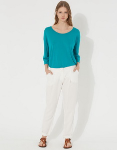Pants in viscose and linen
