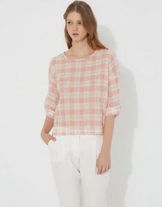 Checked cotton blouse