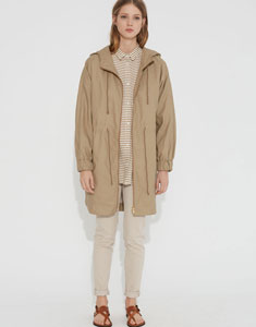 Parka in linen with hood