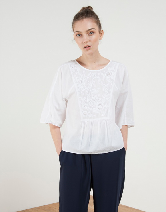 Embroidered Voile Blouse