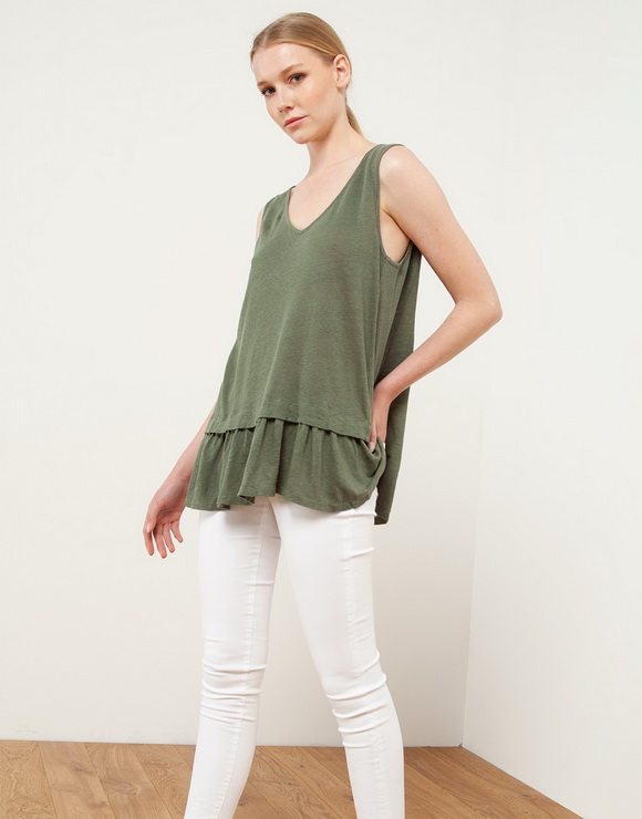 Ruffled 100% Linen Tunic