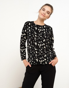 Black Sweater In All Over Print