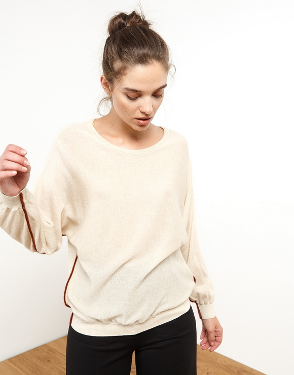 Wide Sweater With Strips In Contrast