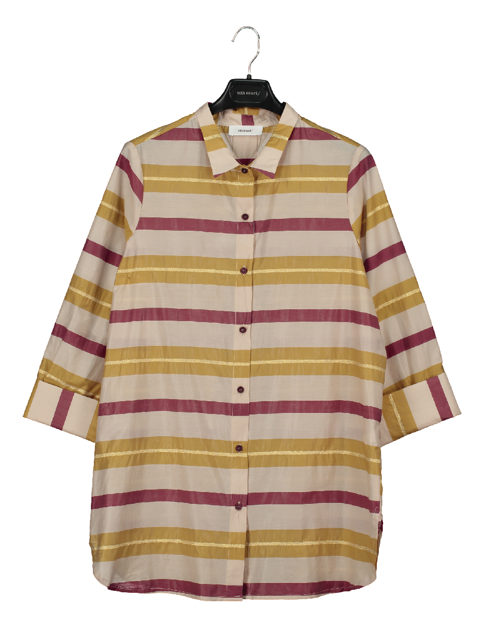 Shirt with contrasted stripes