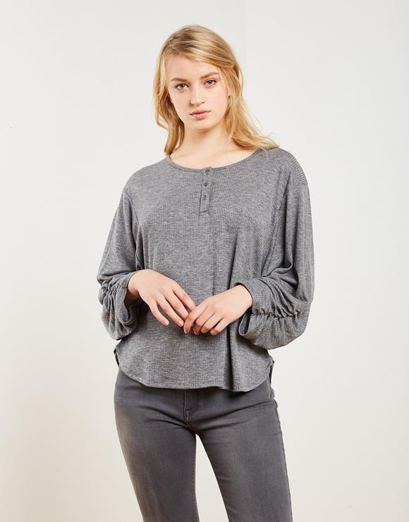 Ruching sleeves T-shirt