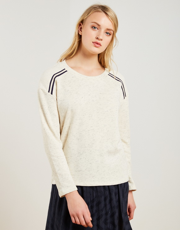 Cotton plush sweater with striped strip on the shoulders