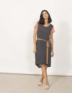 Mix Fabric Midi Dress