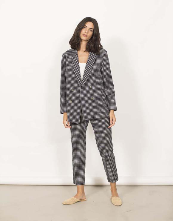 Vichy checked crossed blazer