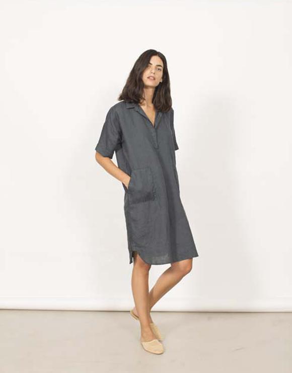 Vestido camisero de lino