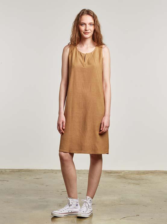 Vestido liso de viscosa lino