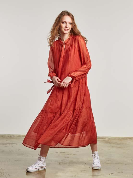 Vestido fluido de algodón y seda