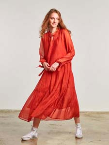 Fluid cotton and silk dress