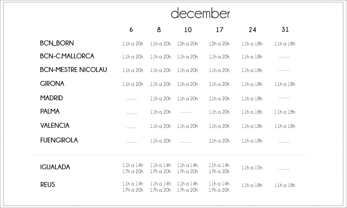 OPEN HOLIDAYS: TIMETABLE