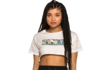 Crop Top GRIMEY fluid planet gactp539 white Brutalzapas