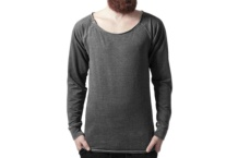 Shirt Urban Classic long burnout open edge crewneck tb1254 dark grey Brutalzapas