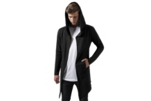 Chaqueta Urban Classic long hooded open edge cardigan tb1389 charcoal Brutalzapas