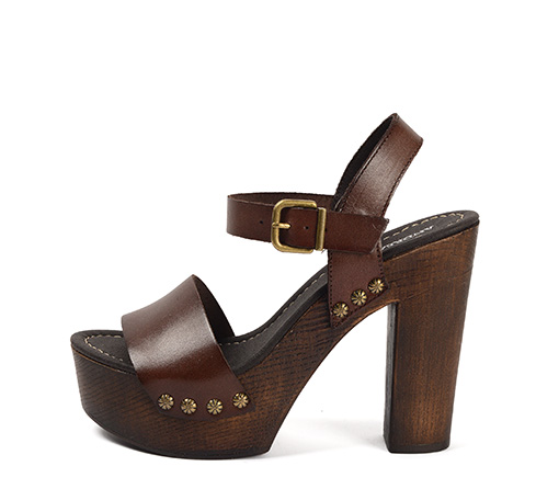 Ref. 3497 Sandalia piel marrón con tacón efecto madera de 12.5 cm y plataforma de 4 cm.