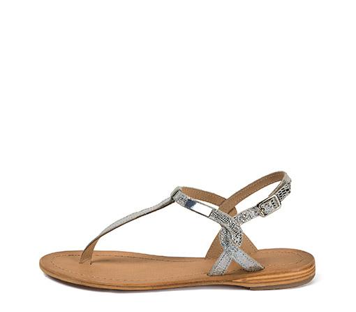 Ref. 3510 Sandalia piel plata efecto espejo. Plantilla piel y suela piel.
