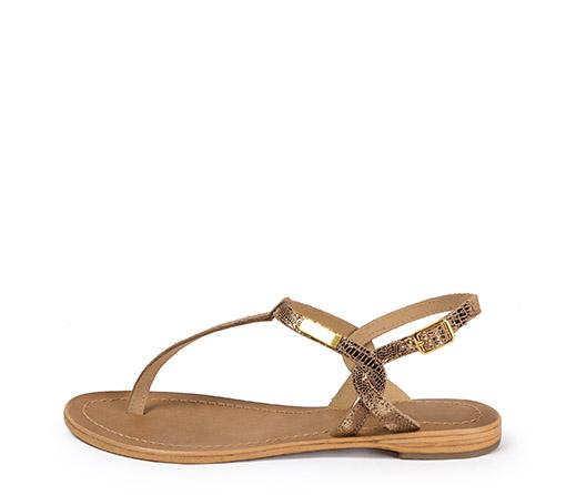 Ref. 3512 Sandalia piel oro efecto espejo. Plantilla piel y suela piel.