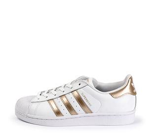 Ref: 3774 Adidas Superstar piel blanca con detalles en oro rosa. Cordones blancos. - Ítem3